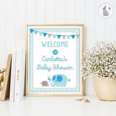 Elephant BABY SHOWER Welcome Sign. Blue and by BlueBunnyPrintables