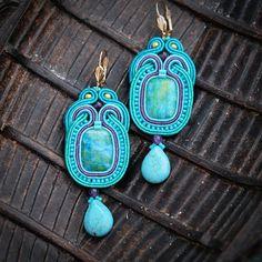 Soutache turquoise earrings