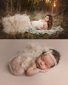 Maternity Photo and Newborn Photo Comparison - Celine Gown by Sew Trendy Accessories  #celinegown #sewtrendyaccessories #RochesterNY #SthefanieSouza