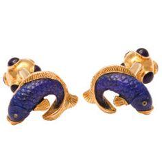 Michael Kanners Elegant Lapis Fish Cufflinks