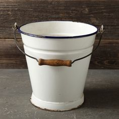 Found Enamel Pail - modern - outdoor products - Williams-Sonoma Pail Bucket, Water Bucket, Milk Pail, Enamel Cookware, Vintage Enamelware, Cooking Utensils, Rustic Charm, Household Items, Gourmet Recipes