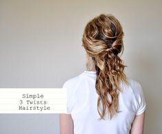 Tutorials for Simple 3 Twists Hairstyle