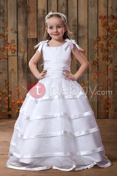 A-Line Round-neck Floor- Length Flower Girls Dress 2013 Style
