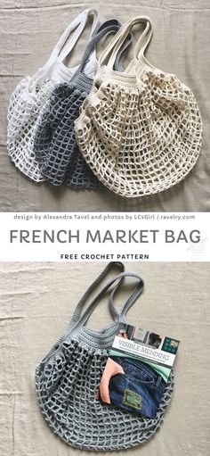 One Skein Crochet, Granny Square Crochet Pattern, Free Crochet, Crochet With Cotton Yarn, Crochet Gift Ideas For Women, Crochet Market Bag, Art Vintage, Bag Pattern Free, Vogue Knitting