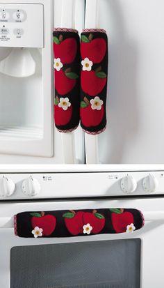 Amazon.com - Collections Etc - Set Of 3 Kitchen Appliance Handle Covers W/ Apple Design - Refrigerator Door Handle Cover