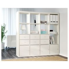 KALLAX Shelf unit - white - IKEA - You can use the furniture as a room divider because it looks good from every angle Etagere Cube Ikea, Etagere Kallax Ikea, Ikea Kallax Shelf Unit, Ikea Shelves, Ikea Storage, Wall Storage, Glass Shelves, Shelving Units, Storage Ideas