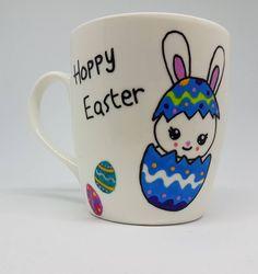 Kids Easter mug, happy Easter, Easter basket filler, hoppy Easter, Easter bunny mug, kids mug ceramic, Easter gifts, Easter gifts for kids by CutieCreationsDE on Etsy