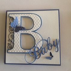 Blue and white Baby card