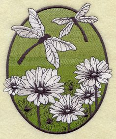 SPRING DRAGONFLY OVAL - Machine Embroidered Quilt Blocks (AzEB)