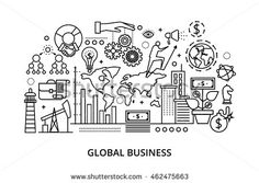 Modern flat thin line design vector illustration, concept of global business process and finance success in the world, for graphic and web design
