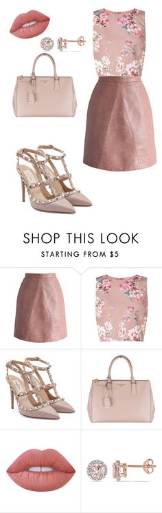 """""""Send Nudes."""" by elliee16 ❤ liked on Polyvore featuring Chicwish, Miss Selfridge, Valentino, Prada, Lime Crime and Allurez"""