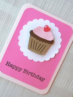 Birthday Card - Happy Birthday - Kids Birthday Card - Handmade - 3D - First Birthday - Birthday Card for Girl - Cupcake - Pink