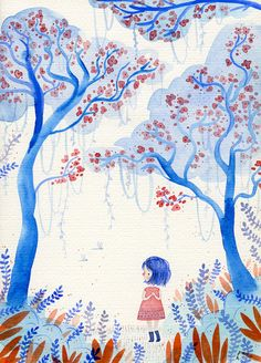 The Gentle Clearing A5 Print rain forest girl by Hannakin