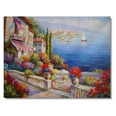 Canvas Painting, Landscape Painting, Mediterranean Sea Painting, Wall – Silvia Home Craft Canvas Painting Landscape, Garden Painting, Seascape Paintings, Oil Painting On Canvas, Landscape Art, Oil Paintings, Sunrise Landscape, Impressionist Landscape, China Painting