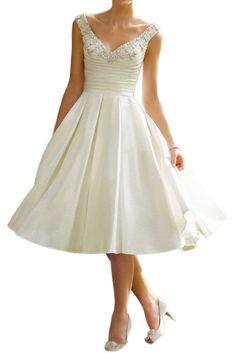 Milano Bride Vintag Elfenbein V-ausschnitt Hochzeitskleider Brautkleider Brautmode mit Perlen Stickreien A-linie Kurz-32 Elfenbein