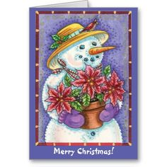 Vintage Poinsettia Snowman Christmas Greeting Card by Sand Creek Ventures