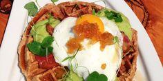 Gluten-Free Quinoa Waffles with Avocado Espuma and Fennel Marmalade