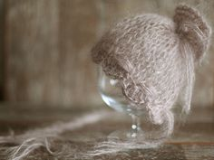 Mohair Newborn Hat, Baby Girl Bonnet, Vintage Hat, Knit baby hat,  Photo prop, Photography Hat