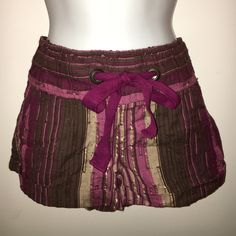 Brown and Magenta Shorts NWT, draw string and stretchy waist. Front and back pockets. The material is kind of like linen. Wet Seal Shorts