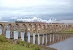 Ex-BR 'Britannia' Class 4-6-2 No. 70013 'Oliver Cromwell' is crossing the Royal Border Bridge at Berwick-upon-Tweed (about 2½ miles south of the English – Scottish border) with the final part of Day 1 of 'GB5' from London to Edinburgh on 21st April 2012. The 'Britannia' Class was introduced by Riddles in 1951 as modern express motive power for the recently nationalised British Railways.