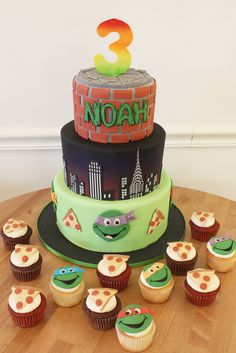 Kids Cakes No birthday celebration is complete without a slice of cake! Birthday cakes have come a long way from the old fashioned frosting balloon poofs and Cake Bake Shop, No Bake Cake, Turtle Cakes, Birthday Celebration, Birthday Cakes, Frosting, Ninja, Balloons, Goodies