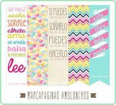 Lindos marcapáginas imprimibles Diy Stickers, Planner Stickers, Printable Stickers, Planners, Diy Bookmarks, Printable Bookmarks, Diy And Crafts, Paper Crafts, Planner Tips