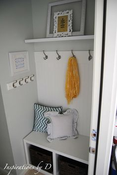 Someday Crafts: Small Mudroom Makeover - I like the cushions and side hooks Entry Closet, Hall Closet, Closet Mudroom, Small Laundry, Laundry Room, Home Organization, Organizing, Home Projects, Decoration