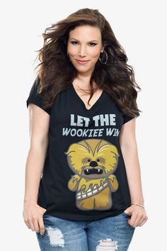 """Internet exclusive! The cuddliest Chewbacca ever growls on the front of this black V-neck tee. """"Let the Wookie win"""" is good advice even when the Wookie is this cute."""