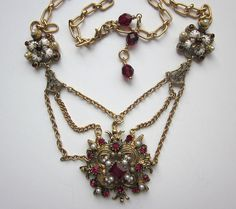 Ruby Red Repurposed Rhinestone Necklace Festoon by jryendesigns, $82.00