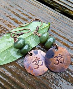 OM symbol Copper earrings green jasper by McKeeJewelryDesigns