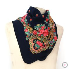 Navy Blue with Pink, Green, Yellow & Blue Flower Border Vintage Portuguese Scarf - FREE Shipping. $25.00, via Etsy.