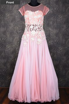 #Baby Pink #floor length #georgette gown with resham thread work-GW111