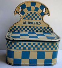 Boite à allumettes Art Déco tôle à damier Lustucru bleu et blanc comme cafetière