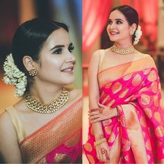 Surrealistic PinkColored Soft Silk Saree with Matching Color silk Blouse. It contained of Printed. The Blouse which can be customized up to bust size This Unstitch Saree Length mtr including mtr Blouse. Indian Wedding Outfits, Indian Outfits, Fashion Mode, Look Fashion, Engagement Saree, Indian Bridal Sarees, Bridal Silk Saree, South Indian Sarees, Up Dos