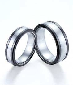 Couple's Polished Tungsten Rings Combined with Black Ceramic | Tungsten Carbide Rings 24HOUR SHIPPING