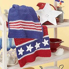 Village Yarn Patriotic Kitchen Towels Dishcloth Crochet Yarn Kit