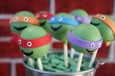 Cake pops at a Teenage Mutant Ninja Turtle Party #tmnt #party #cakepops @Nicolle Miller Miller-George Mullins