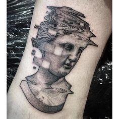 394d8253a Glitch sculpture tattoo by Max Amos. #MaxAmos #blackwork #glitch  #pointillism…