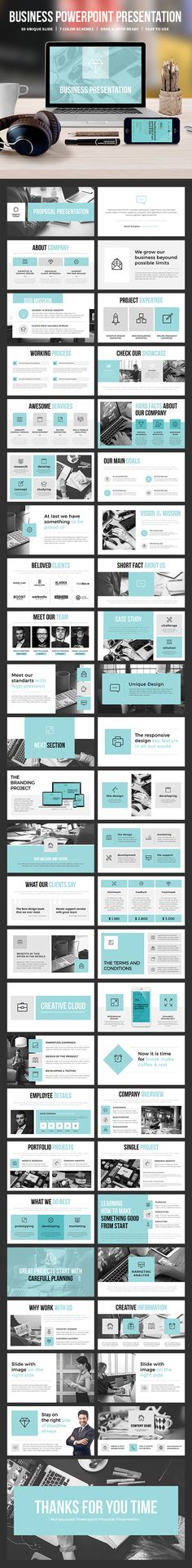Professional minimalistic PowerPoint presentation template ideal for creative or business presentations. Consists of 50 unique PowerPoint slides in 7 color schemes. Web Design, Slide Design, Layout Design, Design Presentation, Business Presentation, Presentation Folder, Business Powerpoint Templates, Powerpoint Presentation Templates, Free Powerpoint Templates Download