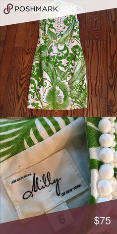 Milly Dress Sz 6 Tropical green and white dresses. Missing a couple beads but not noticeable and could always be added. Milly Dresses Midi