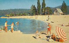 Colorful white sand beaches provide the ultimate in summer swimming, boating and water skiing facilities. Lake Arrowhead Resort, Lake Arrowhead California, Old Pictures, Old Photos, Northern California Beaches, Southern California, Riding Mountain National Park, San Bernardino National Forest, San Bernardino Mountains