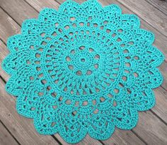 """Turquoise Patio Porch Cord Crochet Rug in 35"""" Round Pineapple Pattern. $70.00, via Etsy."""