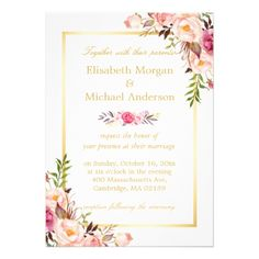Shop Wedding Rehearsal Dinner Elegant Chic Gold Floral Invitation created by CardHunter. Personalize it with photos & text or purchase as is! Formal Wedding Invitations, Gold Invitations, Graduation Invitations, Elegant Invitations, Custom Invitations, Wedding Cards, Wedding Stationery, Kitchen Tea Invitations, Wedding Gifts