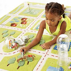 Kids' Rugs: Kids Town Activity Rug Features Roads, Trees, Buildings And Lakes in Patterned Rugs | The Land of Nod