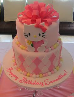 Happy Birthday Princess New Simplyiced Party Details Hello Kitty First Birthday Party Part 1 Hello Kitty Themes, Hello Kitty Cake, Hello Kitty Birthday, Pretty Cakes, Cute Cakes, Beautiful Cakes, Amazing Cakes, Happy 6th Birthday, Birthday Parties