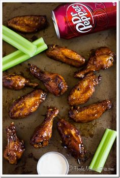 Dr Pepper Hot Wings Recipe - These crispy baked chicken wings are loaded with flavor from a special ingredient – Dr Pepper! Wings are tossed in a sticky sweet & spicy glaze, making them perfect to serve as a part of your game day spread. Crispy Baked Chicken Wings, Boneless Chicken Wings, Sticky Chicken Wings, Grilled Chicken Wings, Chicken Bites, Chicken Breasts, Chicken Wing Recipes, Chicken Wing Flavors, Chicken Wing Sauces