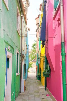 Colorful alleyways on the island of Burano in the Venetian lagoon