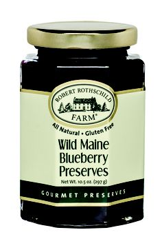 A classic breakfast: Wild Maine Blueberry Preserves on a biscuit or toast. Simple perfection.