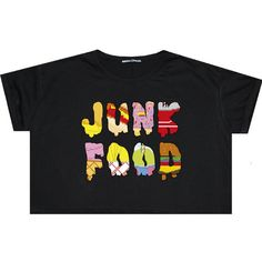 Junk Food Crop Top T Shirt Tee Womens Girl Funny Fun Tumblr Hipster... ($17) ❤ liked on Polyvore featuring tops, t-shirts, crop tops, black, sweater vests, sweaters, women's clothing, gothic t shirts, cropped sweater vest and loose crop top