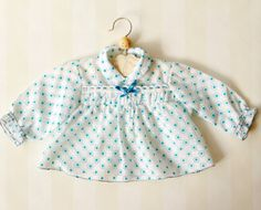 Vintage Baby Shirt in Sheer Fabric 6-12 months, Scandinavian Retro Baby Blouse with Blue Dots a Collar and a Blue Bow, Mid Century Baby Top